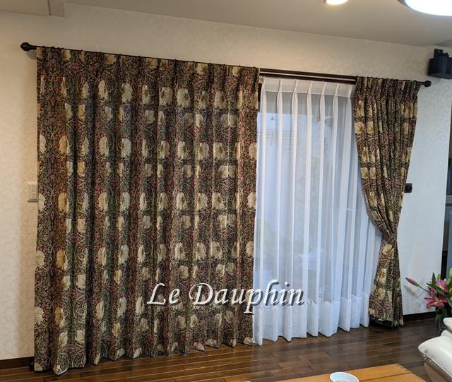 ▲ウィリアムモリス ピンパネルで製作したカーテン